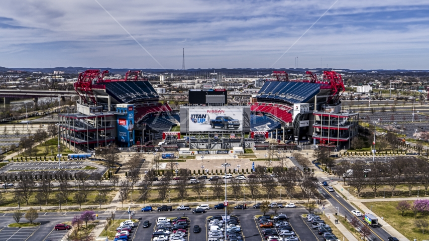 A view of Nissan Stadium in Nashville, Tennessee Aerial Stock Photos | DXP002_117_0002