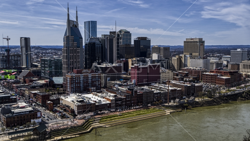 The city's skyline overlooking the Cumberland River, Downtown Nashville, Tennessee Aerial Stock Photos DXP002_117_0004 | Axiom Images