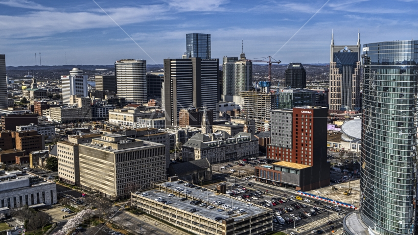 Tall skyscrapers, city buildings in Downtown Nashville, Tennessee Aerial Stock Photos | DXP002_118_0003