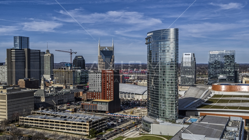 The JW Marriott hotel near skyscrapers in Downtown Nashville, Tennessee Aerial Stock Photos | DXP002_118_0007