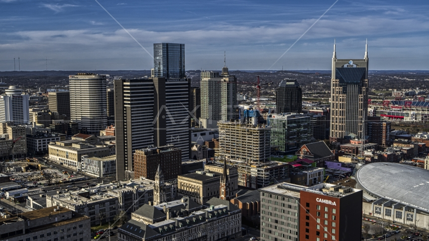 A view of Renaissance Hotel in Downtown Nashville, Tennessee Aerial Stock Photos | DXP002_119_0001