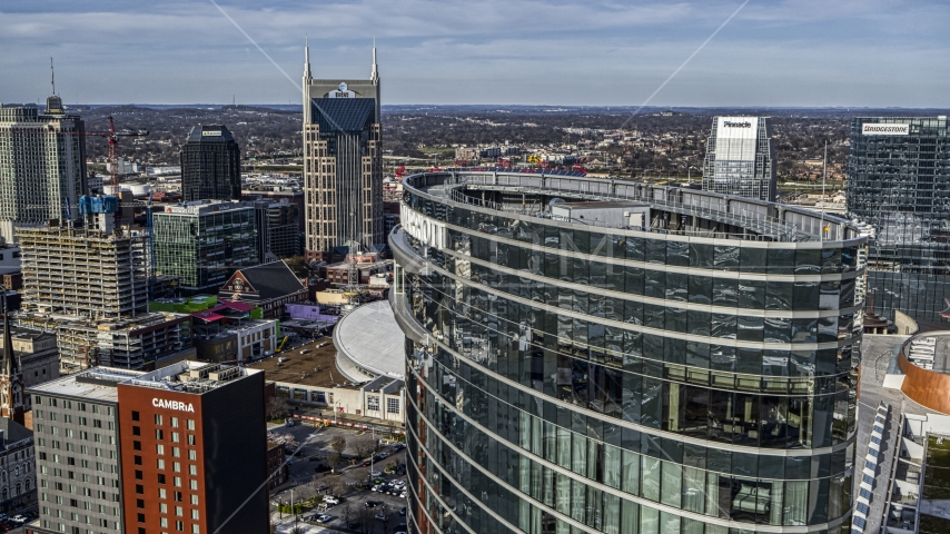 The top of the JW Marriott with view of AT&T Building, Downtown Nashville, Tennessee Aerial Stock Photo DXP002_119_0003 | Axiom Images