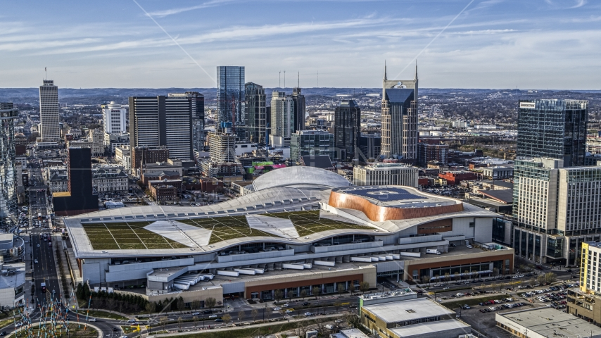 Nashville Music City Center and the city's skyline, Downtown Nashville, Tennessee Aerial Stock Photos | DXP002_119_0005