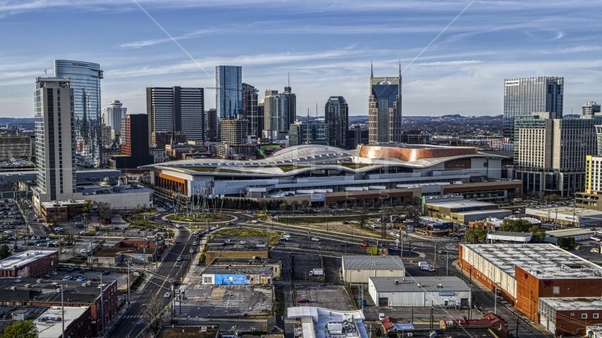 The Nashville Music City Center near the city's skyline, Downtown Nashville, Tennessee Aerial Stock Photos | DXP002_119_0006