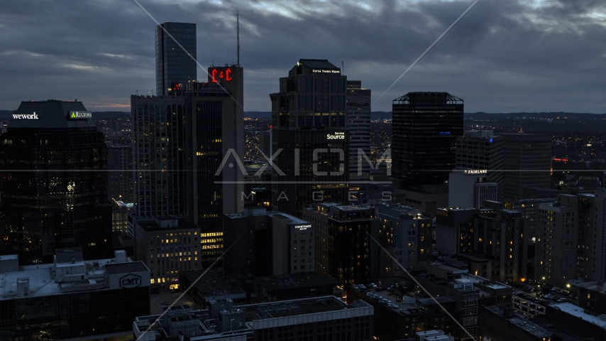 Tall skyscrapers at twilight in Downtown Nashville, Tennessee Aerial Stock Photos | DXP002_120_0016