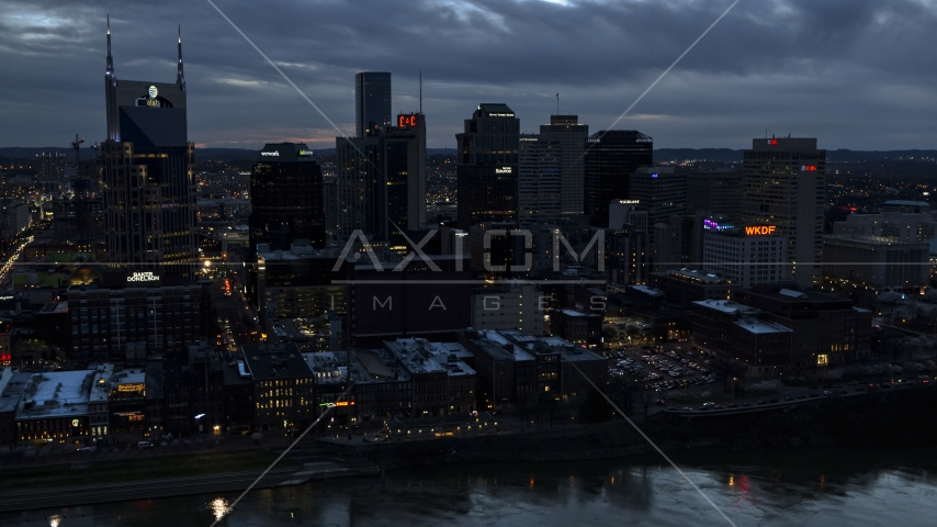 The AT&T Building and tall skyscrapers at twilight, Downtown Nashville, Tennessee Aerial Stock Photos | DXP002_120_0017