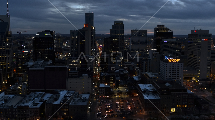 Downtown skyscrapers at twilight in Downtown Nashville, Tennessee Aerial Stock Photos | DXP002_120_0019