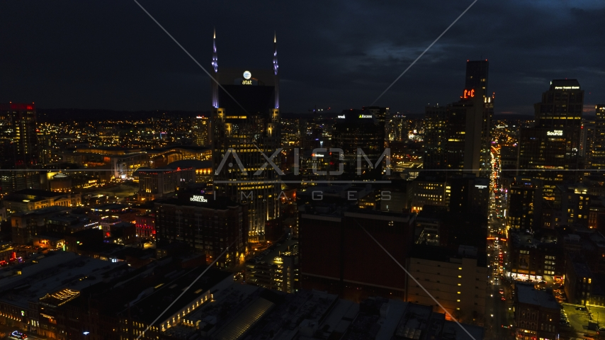 A close-up view of the AT&T Building at twilight, Downtown Nashville, Tennessee Aerial Stock Photos | DXP002_121_0011