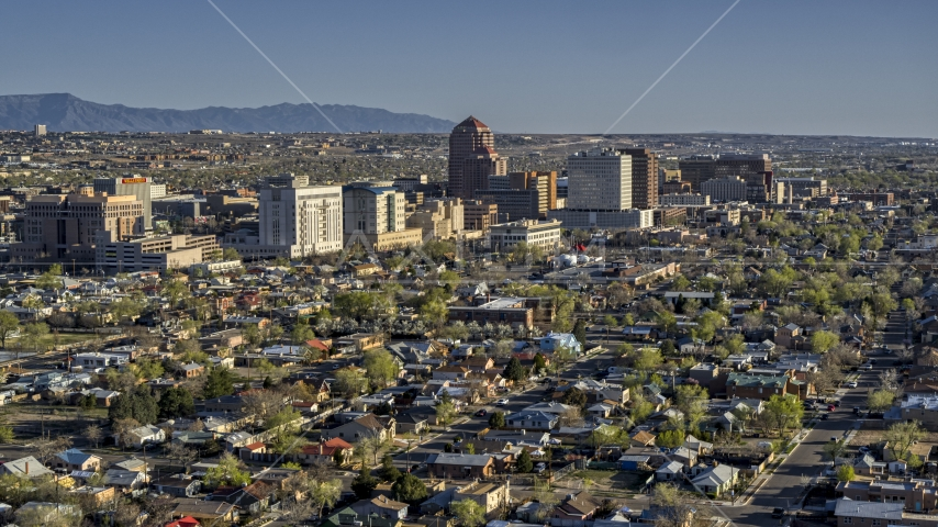 The city's high-rises seen from residential neighborhoods in Downtown Albuquerque, New Mexico Aerial Stock Photos   DXP002_122_0001