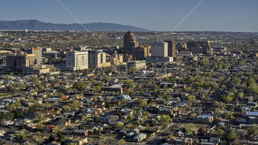 The city's high-rises seen from neighborhoods in Downtown Albuquerque, New Mexico Aerial Stock Photos | DXP002_122_0002