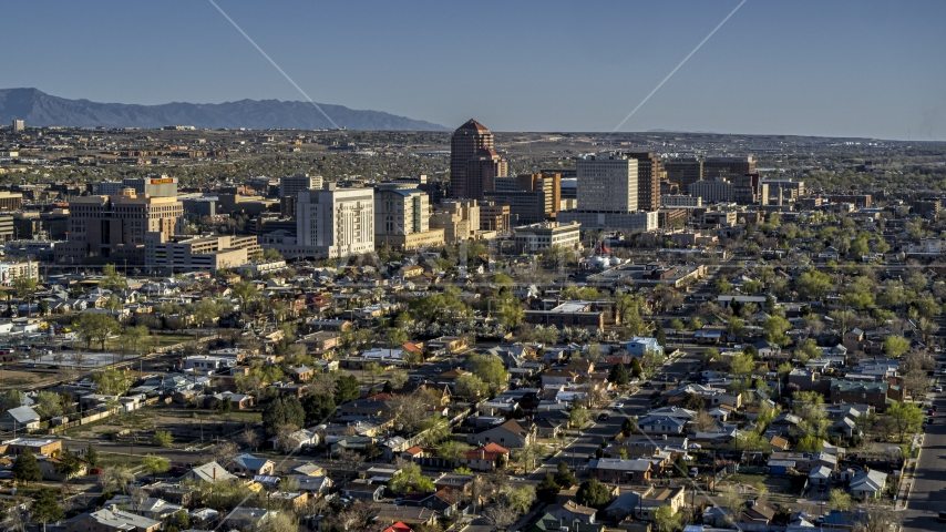 The city's high-rises seen from neighborhoods in Downtown Albuquerque, New Mexico Aerial Stock Photo DXP002_122_0003 | Axiom Images