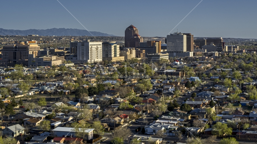 A view of the city's high-rises from neighborhoods, Downtown Albuquerque, New Mexico Aerial Stock Photos | DXP002_122_0004