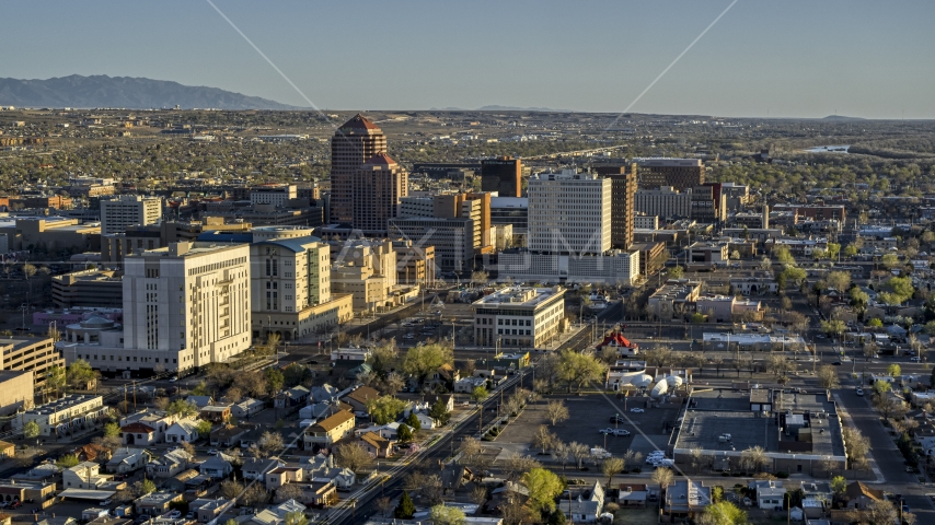 High-rise office buildings seen from courthouse in Downtown Albuquerque, New Mexico Aerial Stock Photos | DXP002_122_0005