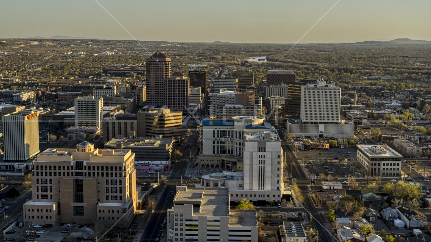 A view of office high-rise buildings in Downtown Albuquerque, New Mexico Aerial Stock Photos | DXP002_122_0006