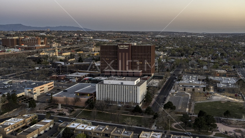 A hospital at sunset in Albuquerque, New Mexico Aerial Stock Photos | DXP002_123_0001