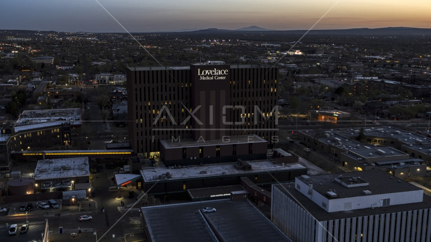 A hospital at twilight in Albuquerque, New Mexico Aerial Stock Photos | DXP002_123_0006
