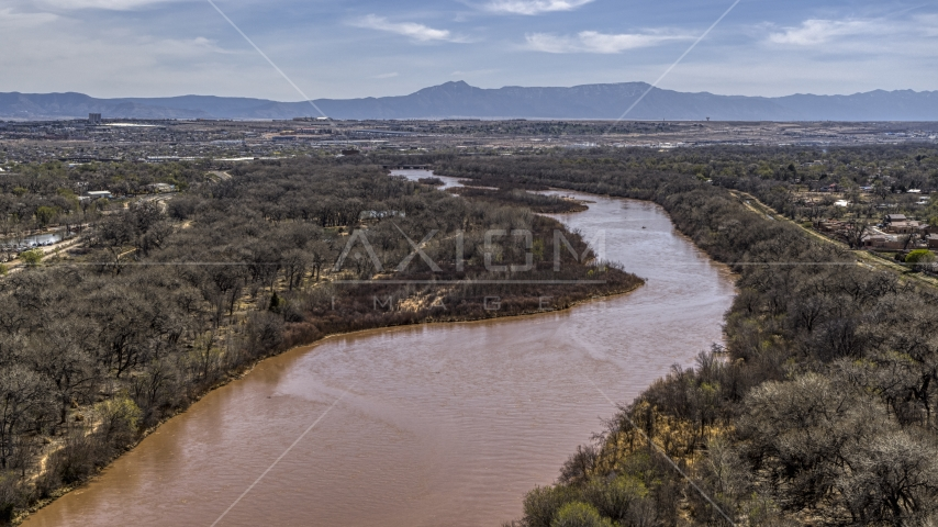 The Rio Grande river in Albuquerque, New Mexico Aerial Stock Photos | DXP002_124_0005