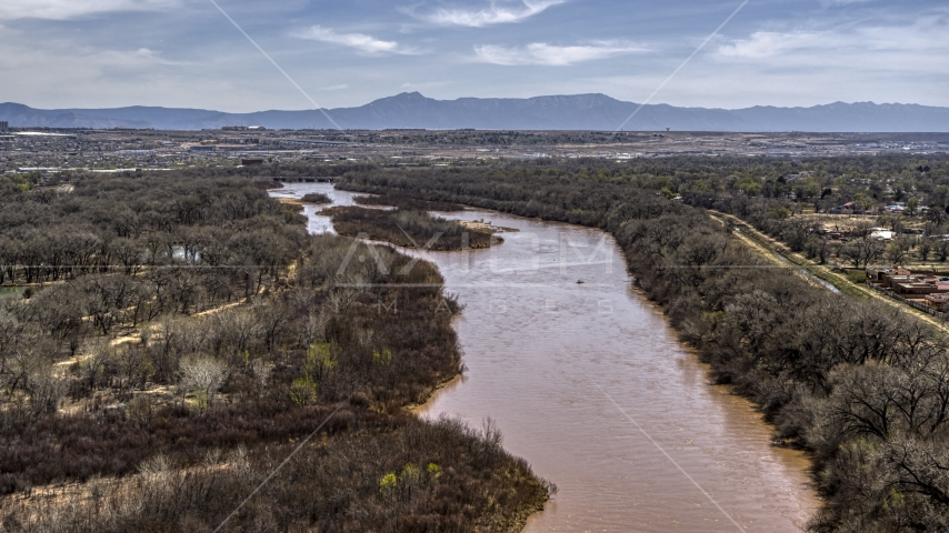 The Rio Grande, small islands in the river in Albuquerque, New Mexico Aerial Stock Photos | DXP002_124_0006