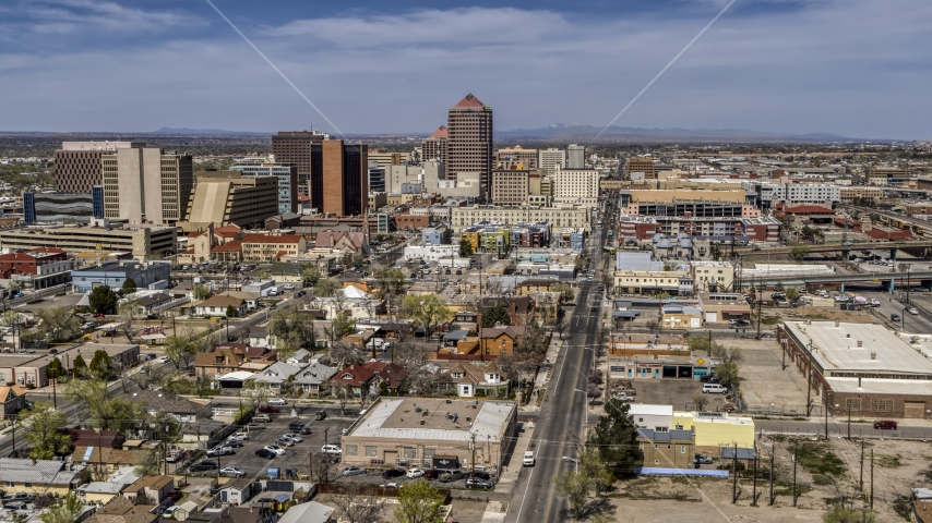 Wide view of Albuquerque Plaza and surrounding buildings, Downtown Albuquerque, New Mexico Aerial Stock Photo DXP002_124_0011 | Axiom Images
