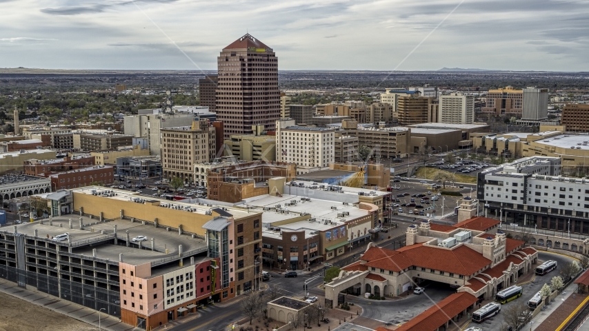 Albuquerque Plaza high-rise and neighboring city buildings, Downtown Albuquerque, New Mexico Aerial Stock Photos | DXP002_127_0002