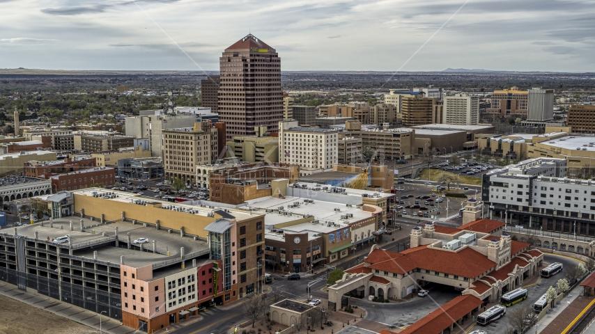 Albuquerque Plaza high-rise and neighboring city buildings, Downtown Albuquerque, New Mexico Aerial Stock Photo DXP002_127_0002 | Axiom Images
