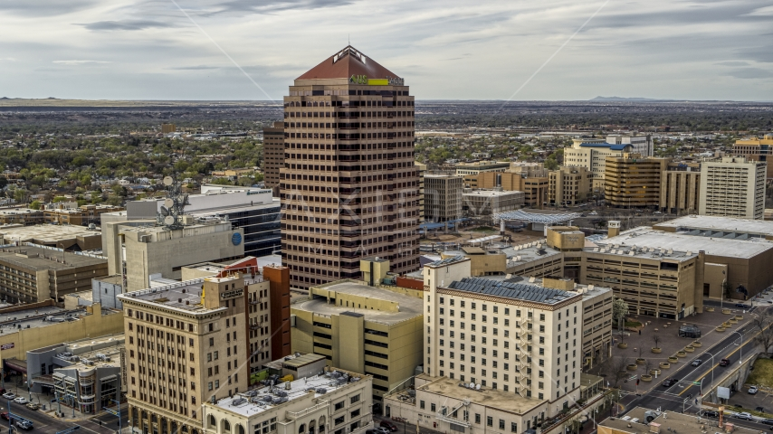 A view of Albuquerque Plaza and neighboring city buildings in Downtown Albuquerque, New Mexico Aerial Stock Photo DXP002_127_0004 | Axiom Images