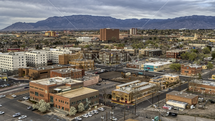 Office and apartment buildings in Downtown Albuquerque, New Mexico Aerial Stock Photo DXP002_127_0005 | Axiom Images