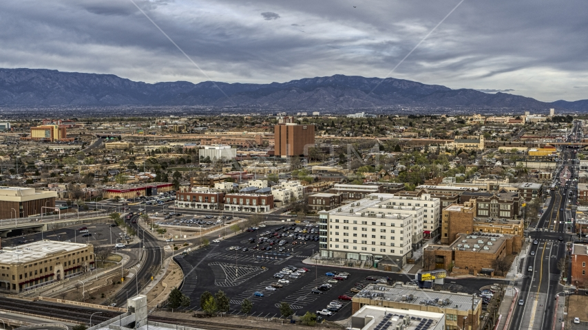 A wide view of office and apartment buildings, Downtown Albuquerque, New Mexico Aerial Stock Photos | DXP002_127_0006