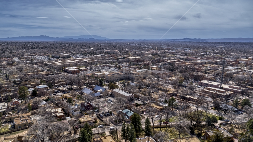 The downtown area and surrounding city of Santa Fe, New Mexico Aerial Stock Photos | DXP002_129_0010
