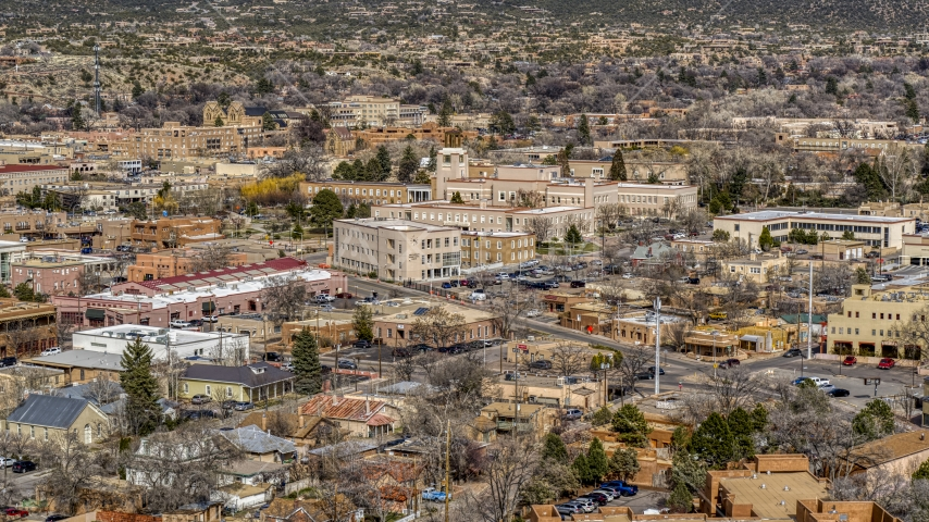 A view of state government buildings in the city's downtown area, Santa Fe, New Mexico Aerial Stock Photos | DXP002_129_0017
