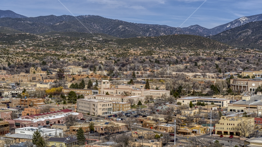 The Bataan Memorial Building near capitol building, Santa Fe, New Mexico Aerial Stock Photos | DXP002_129_0018