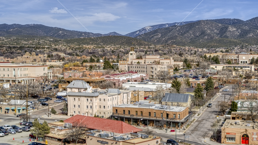The Bataan Memorial Building near capitol building and shops, Santa Fe, New Mexico Aerial Stock Photos | DXP002_130_0001