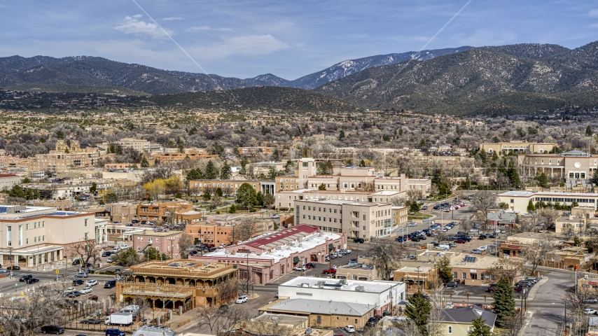 A view of the Bataan Memorial Building in Santa Fe, New Mexico Aerial Stock Photos | DXP002_130_0004