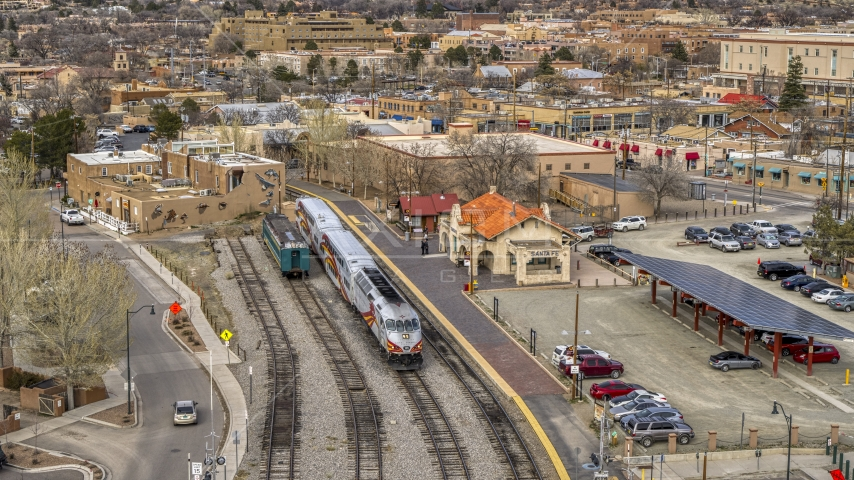 A passenger train at the station in Santa Fe, New Mexico Aerial Stock Photos | DXP002_130_0007