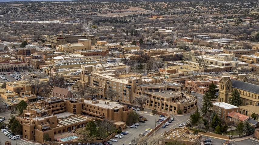 A view of two hotels in Santa Fe, New Mexico Aerial Stock Photos | DXP002_130_0009