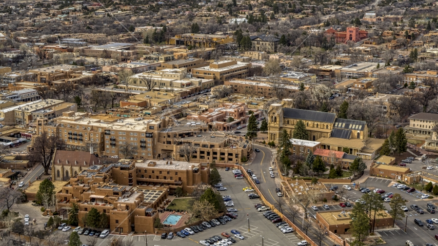 Two hotels and a cathedral in Santa Fe, New Mexico Aerial Stock Photos | DXP002_130_0011