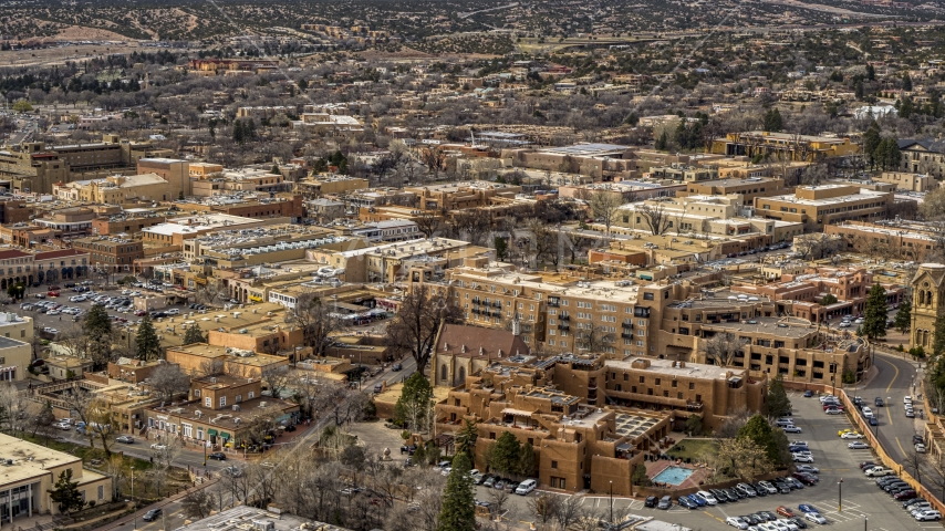 Downtown hotels in Santa Fe, New Mexico Aerial Stock Photos | DXP002_130_0013