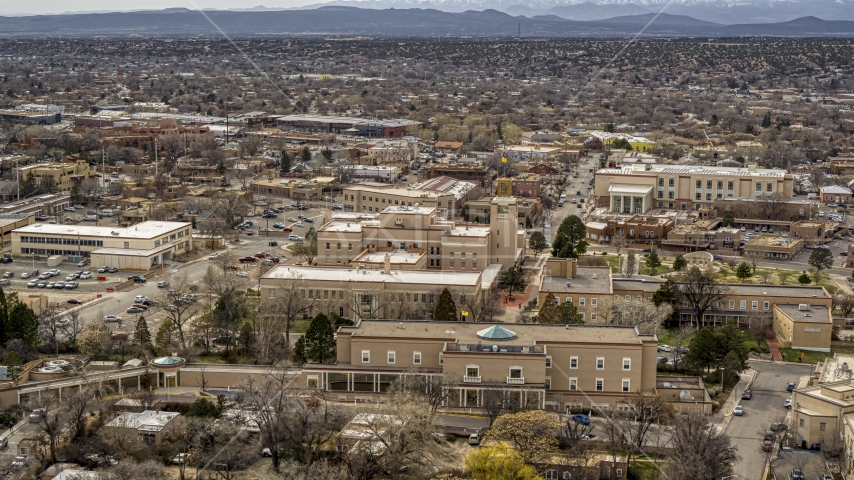 The Bataan Memorial Building in downtown, Santa Fe, New Mexico Aerial Stock Photos | DXP002_130_0014