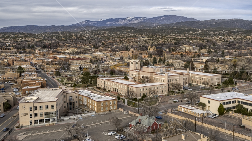 The Bataan Memorial Building and the downtown area of the city, Santa Fe, New Mexico Aerial Stock Photos | DXP002_131_0004