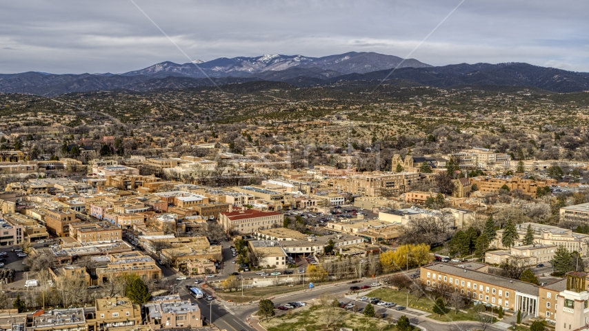A wide view of the downtown area of Santa Fe, New Mexico Aerial Stock Photos | DXP002_131_0009