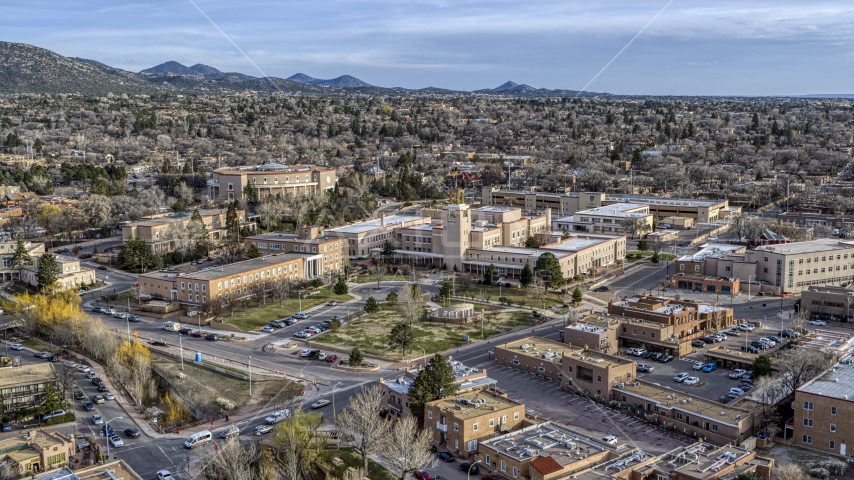 The state capitol and the Bataan Memorial Building in Santa Fe, New Mexico Aerial Stock Photos   DXP002_131_0013