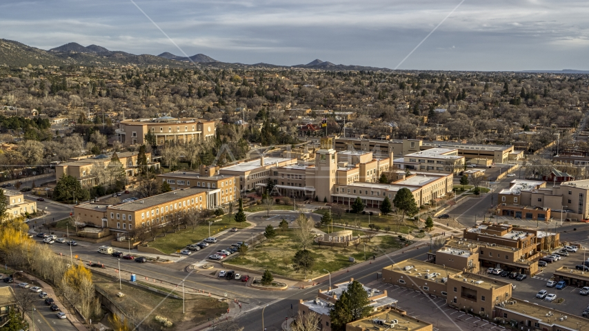 The Bataan Memorial Building beside the state capitol building, Santa Fe, New Mexico Aerial Stock Photos | DXP002_131_0015