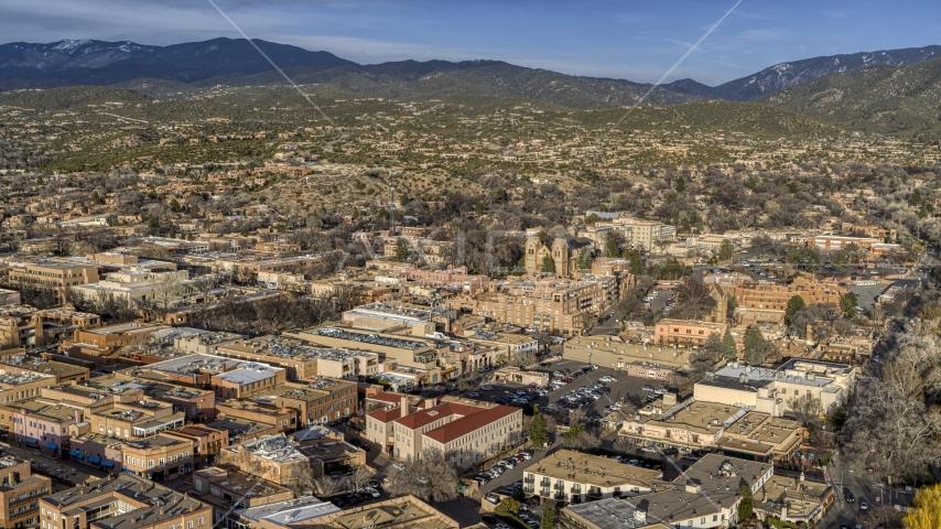 The downtown area of Santa Fe, New Mexico Aerial Stock Photos | DXP002_132_0002