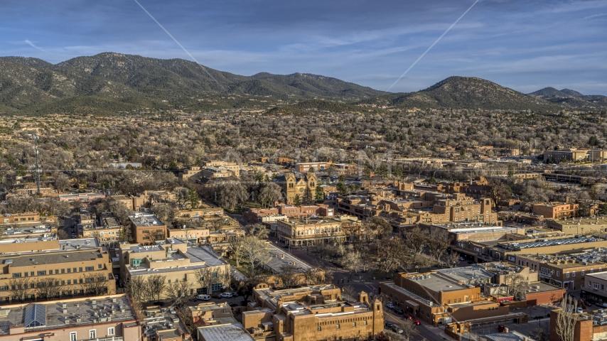 The cathedral seen from near Santa Fe Plaza, Santa Fe, New Mexico Aerial Stock Photos   DXP002_132_0003