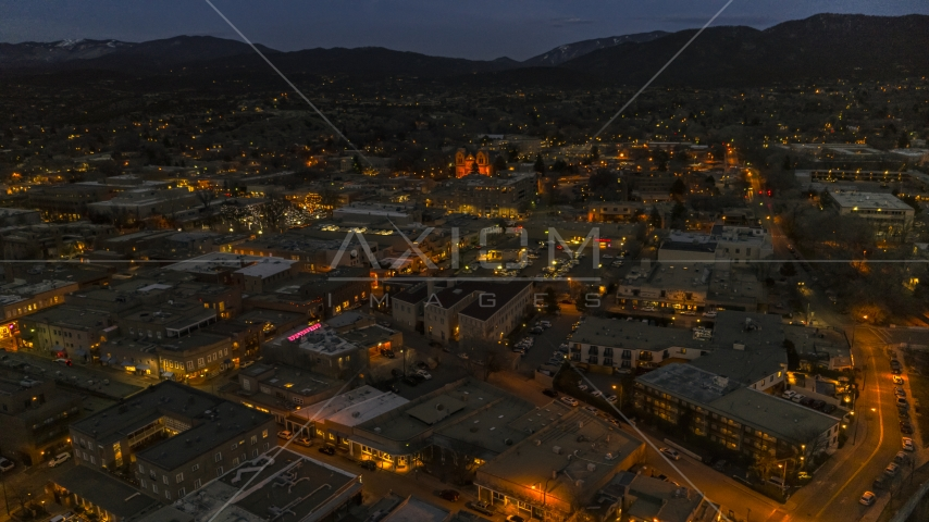 A view across downtown to cathedral at night, Santa Fe, New Mexico Aerial Stock Photos | DXP002_132_0005