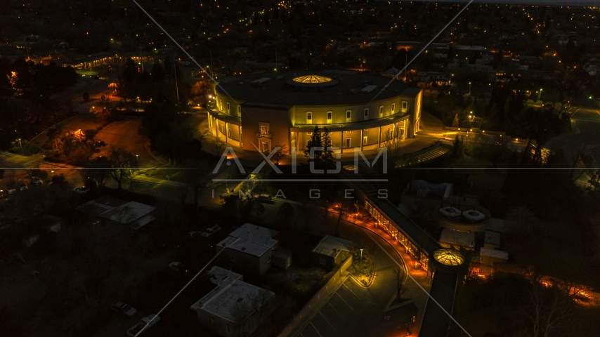 The New Mexico State Capitol at night, Santa Fe, New Mexico Aerial Stock Photos | DXP002_132_0006