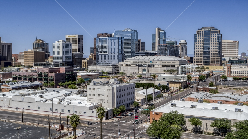 Arena and office buildings in Downtown Phoenix, Arizona Aerial Stock Photos | DXP002_136_0003