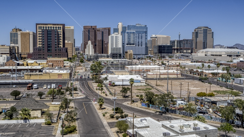 High-rise office buildings seen from 1st Avenue, Downtown Phoenix, Arizona Aerial Stock Photos | DXP002_136_0006