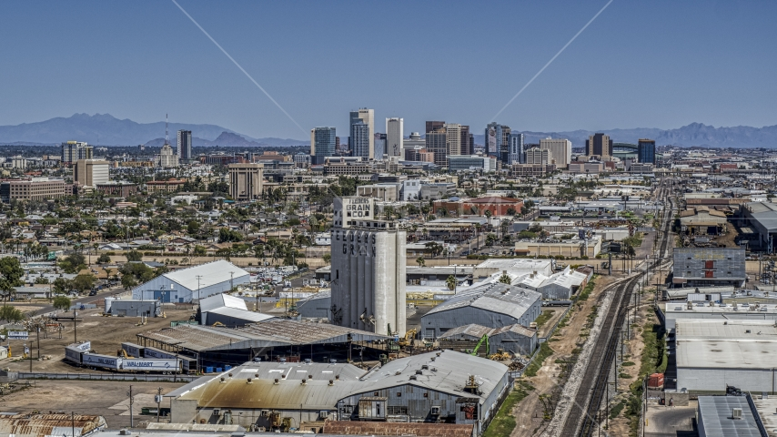 A wide view of the city's skyline, seen from grain elevator, Downtown Phoenix, Arizona Aerial Stock Photos | DXP002_136_0008