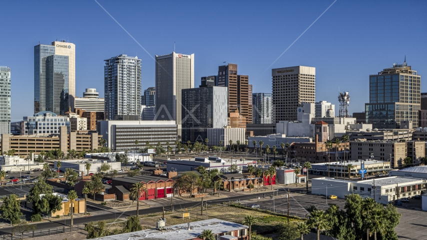 The city's high-rise office buildings in Downtown Phoenix, Arizona Aerial Stock Photos | DXP002_138_0004